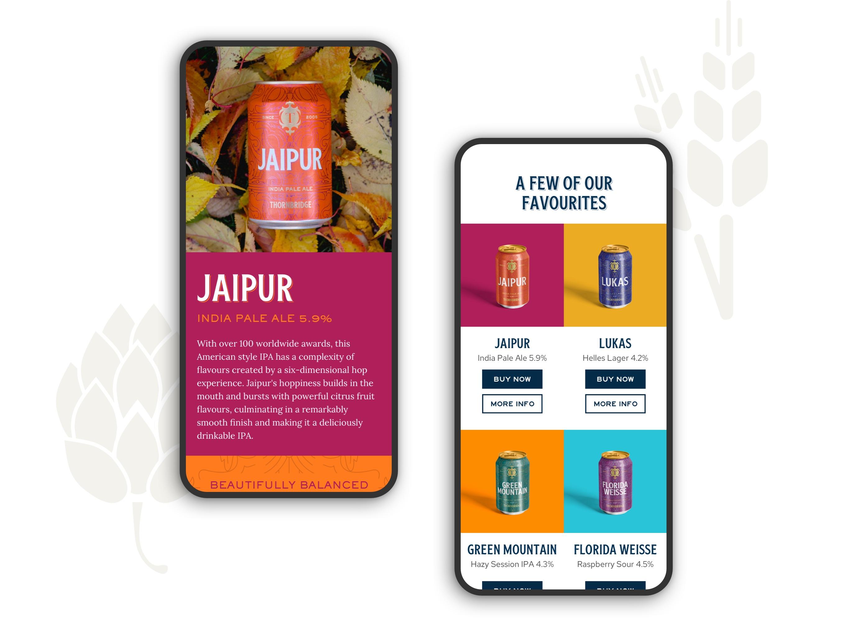 Thornbridge Brewery website on mobiles
