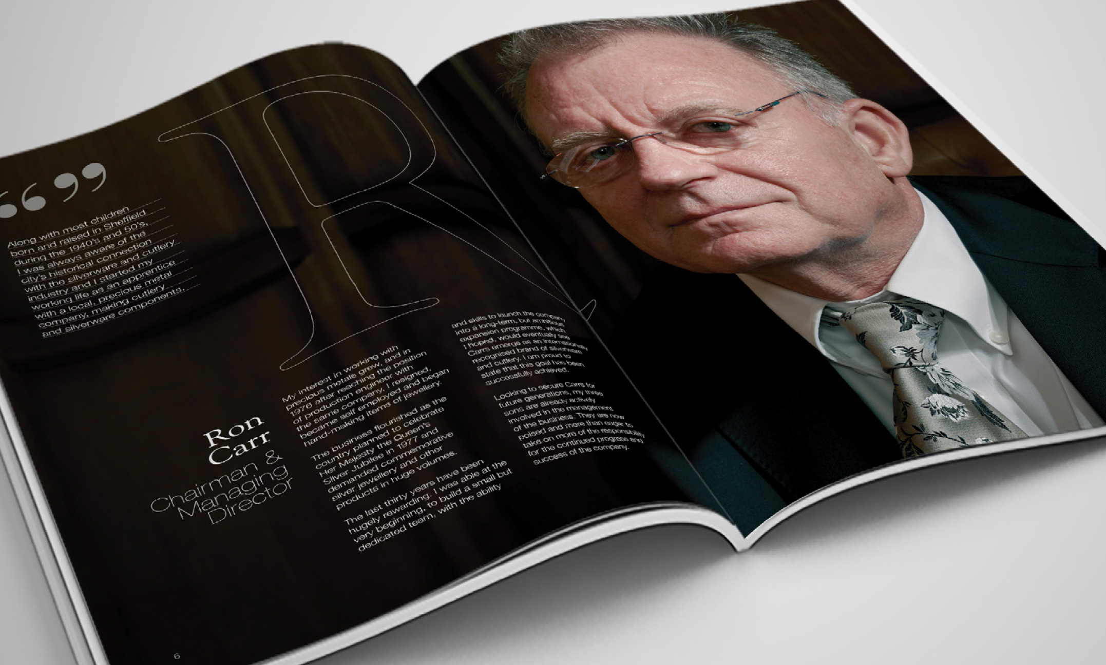 Interview with Ron Carr, Chairman & Managing Director of Carrs Silver), in a brochure