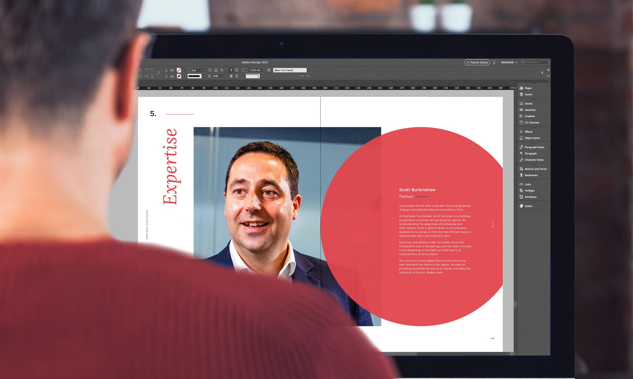 Person viewing Shorts Radius website on a desktop screen