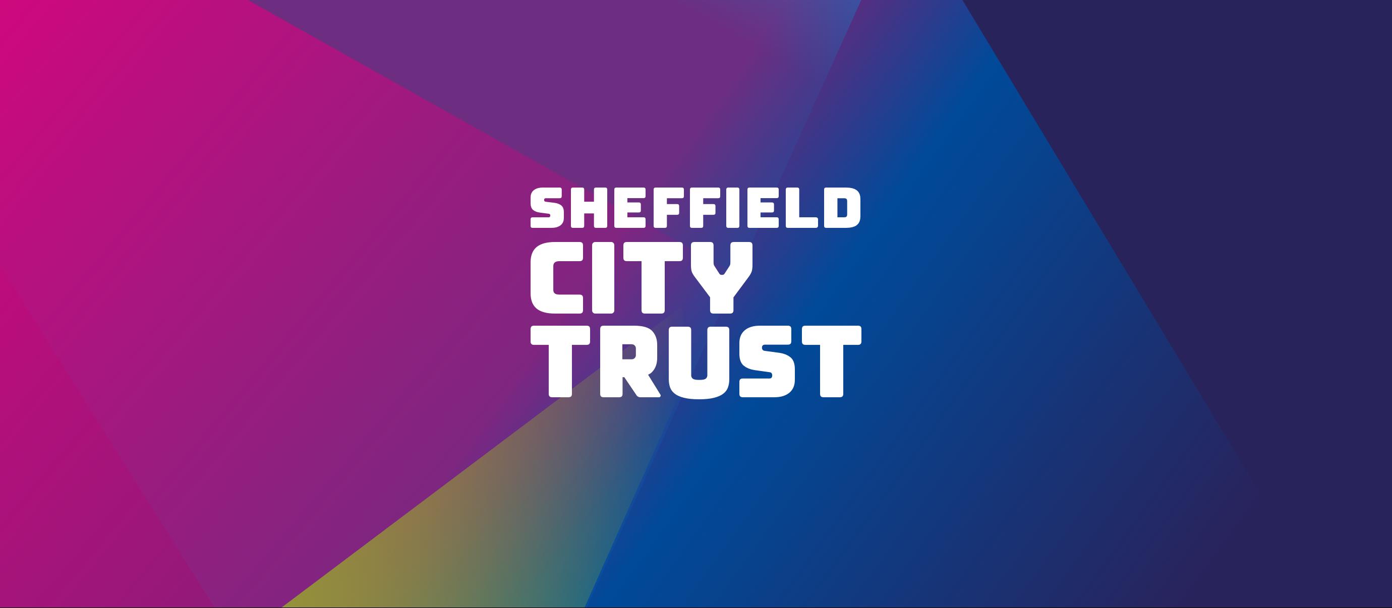 Sheffield City Trust logo on colourful background