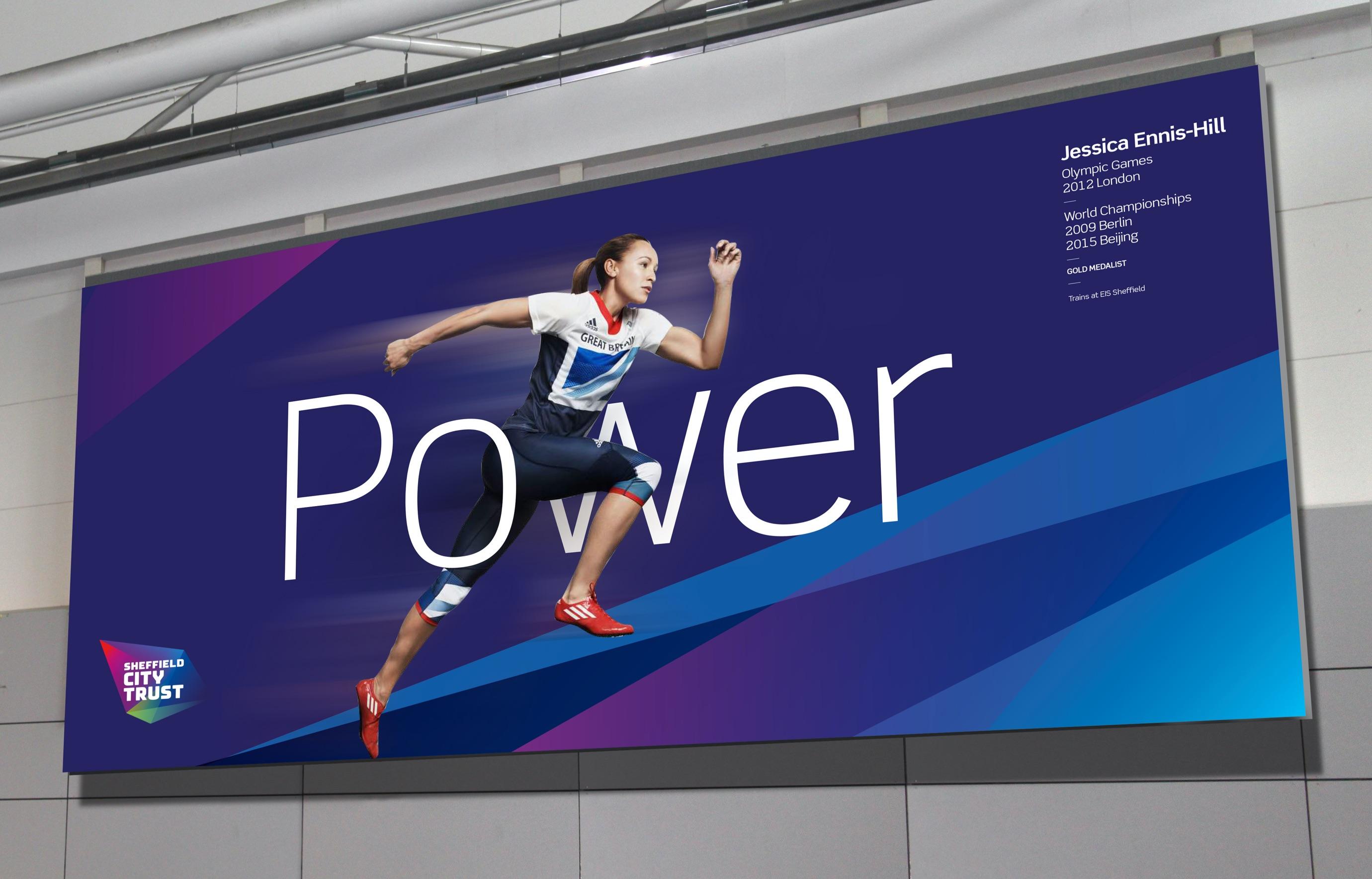 Sheffield City Trust 'Power' advert on a billboard
