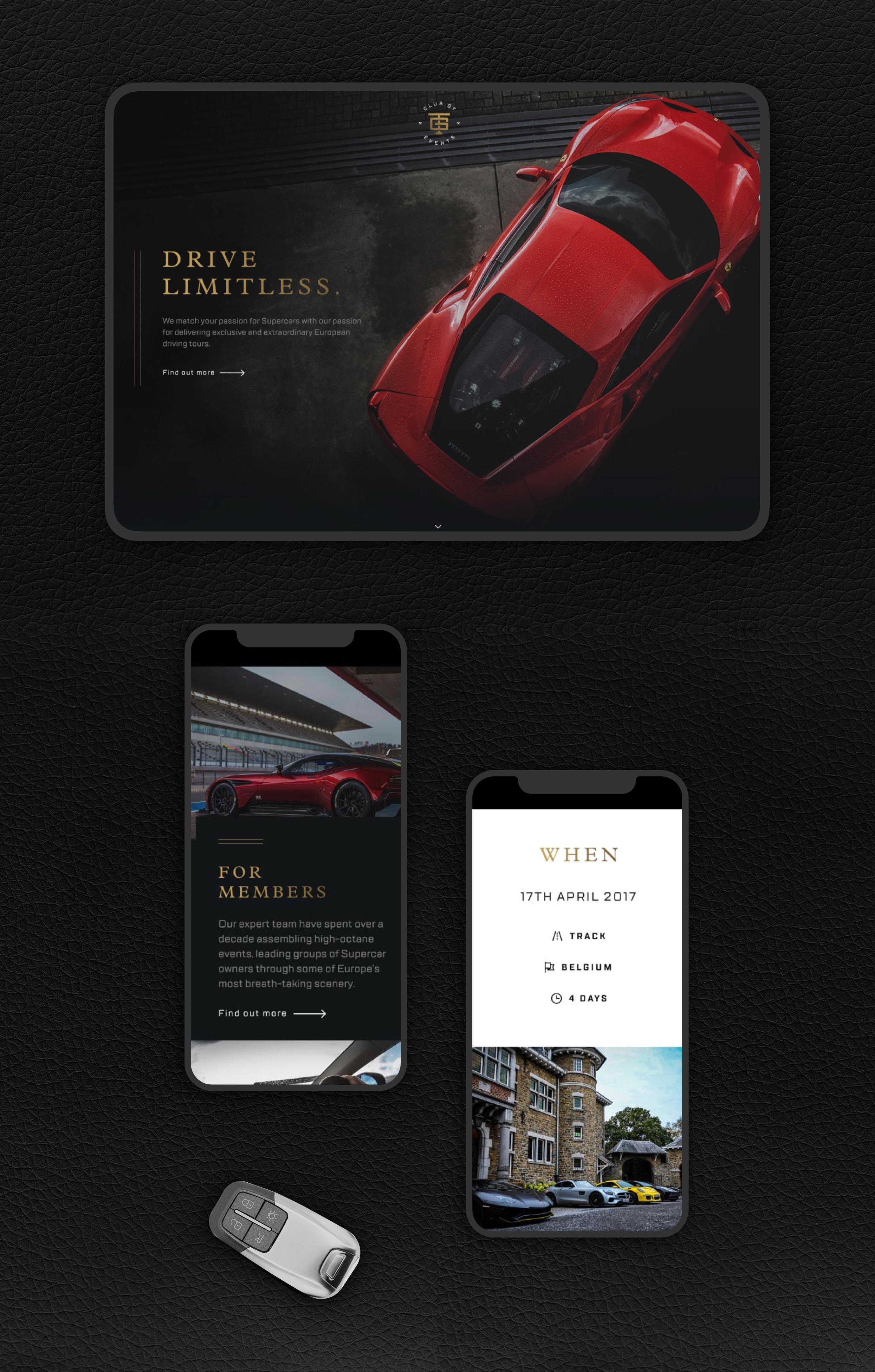 ClubGT Website on mobile / tablet devices