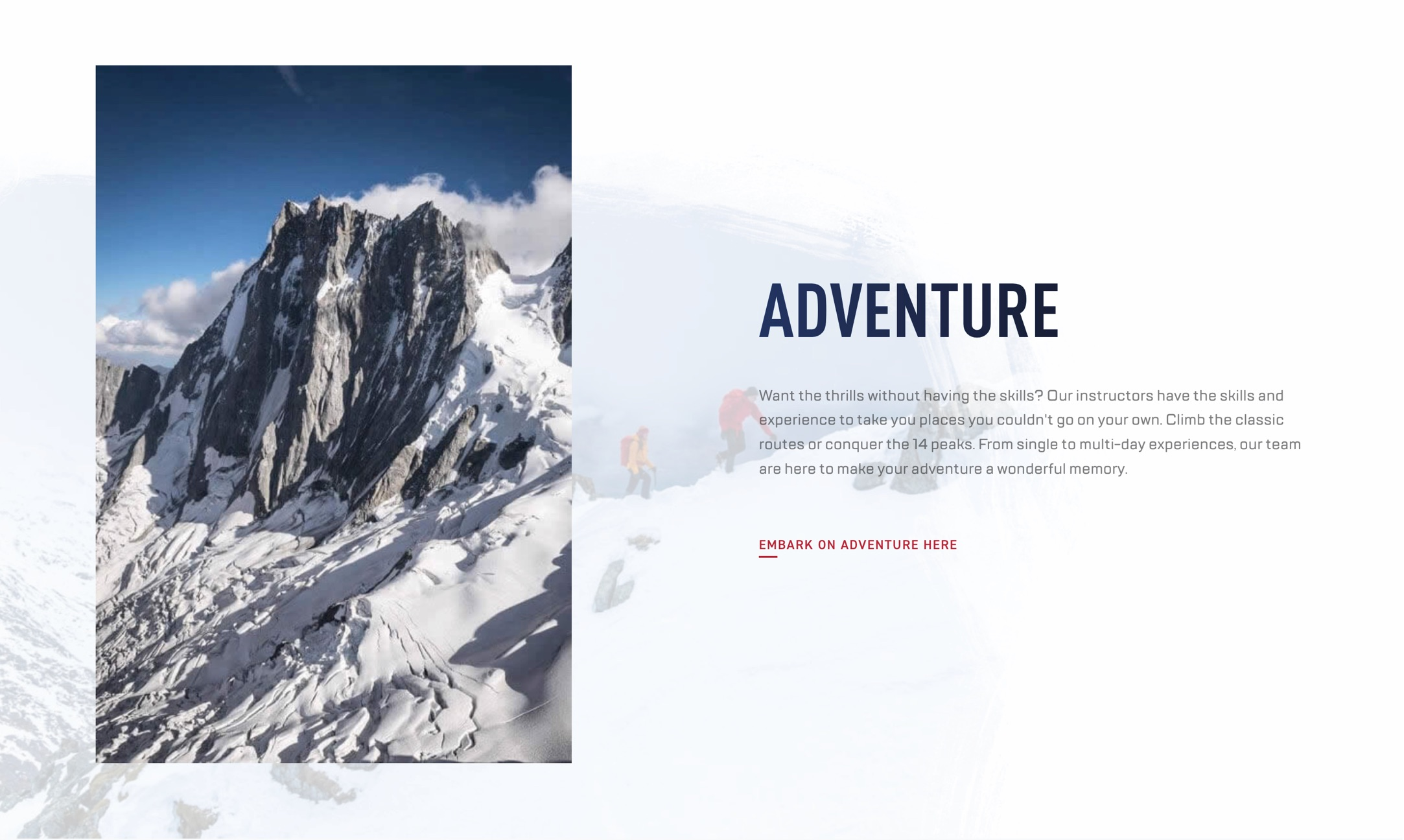 Adventure text over mountain background