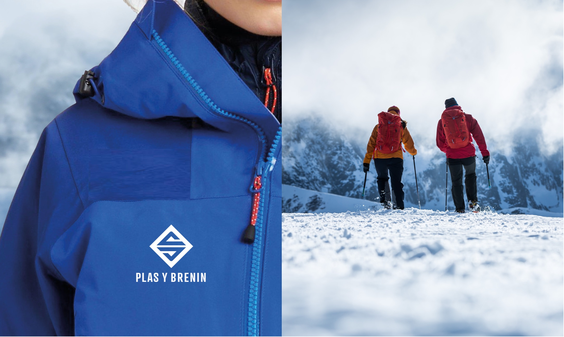 Plas Y Brenin (PYB) logo on outdoor wear & people in the snow
