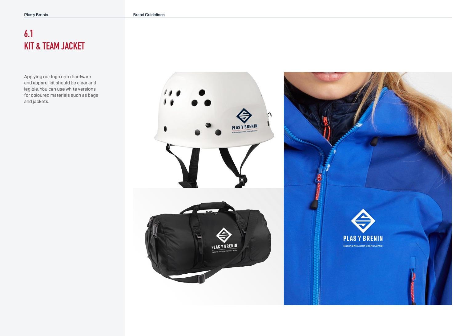 Plas Y Brenin (PYB) Brand Guidelines - Kit & Team Jacket Examples