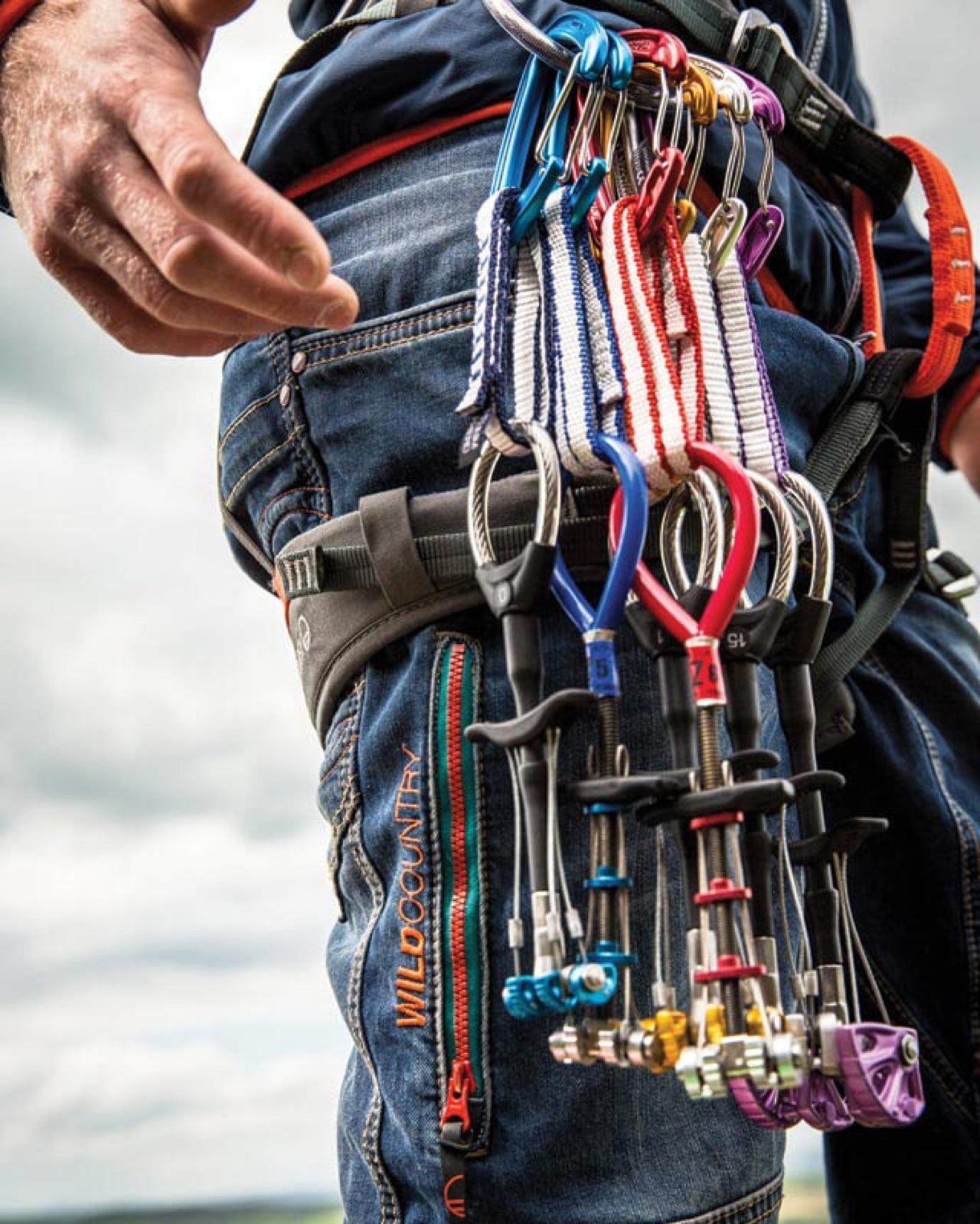 Climber's set of carabinershung around their waist