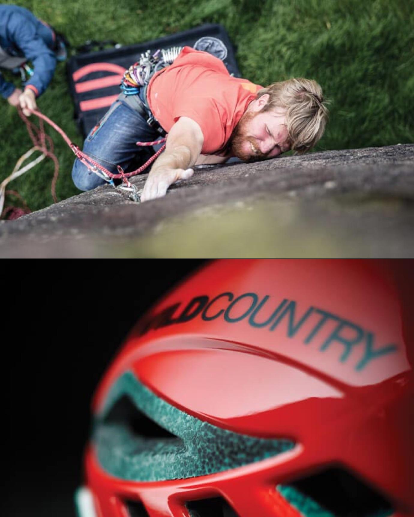 Climber on a rock & a helmet closeup
