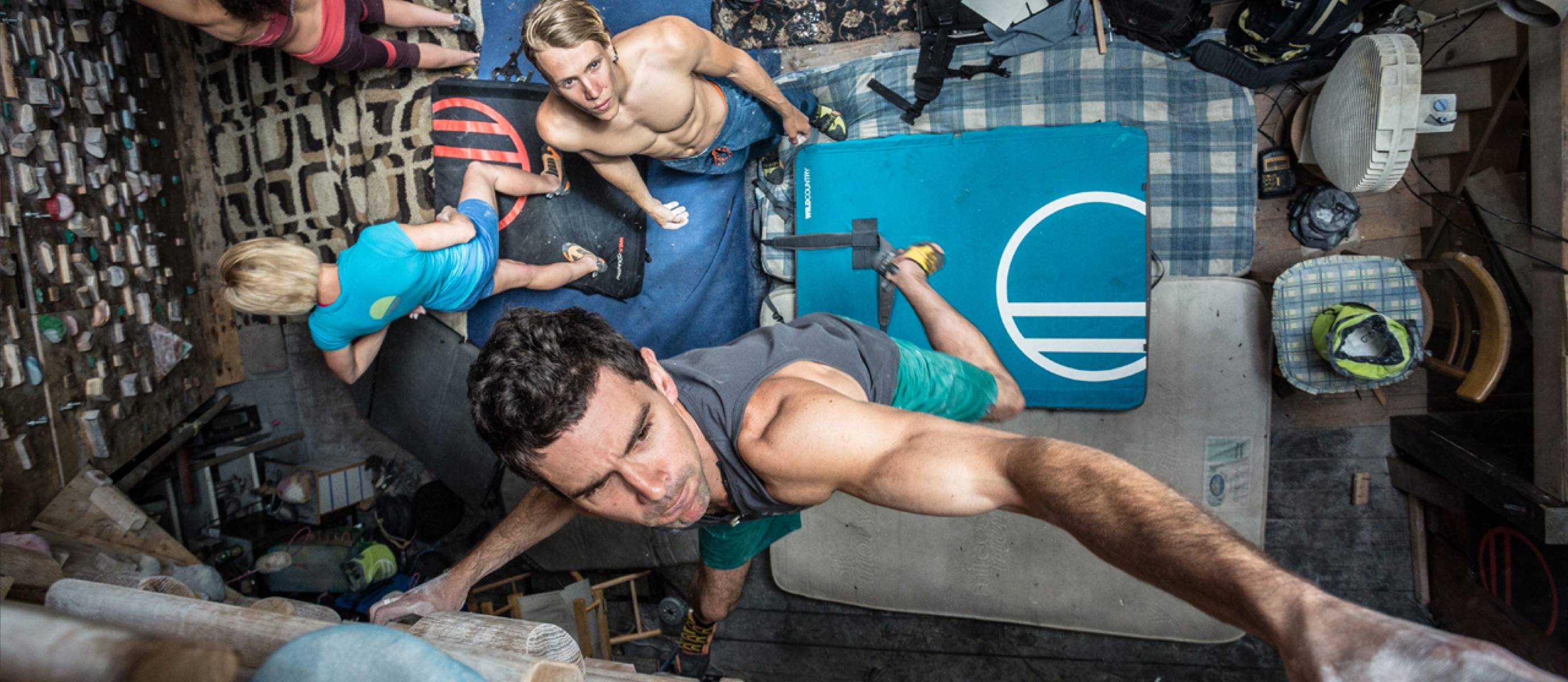 Group of climbers doing indoor boldering