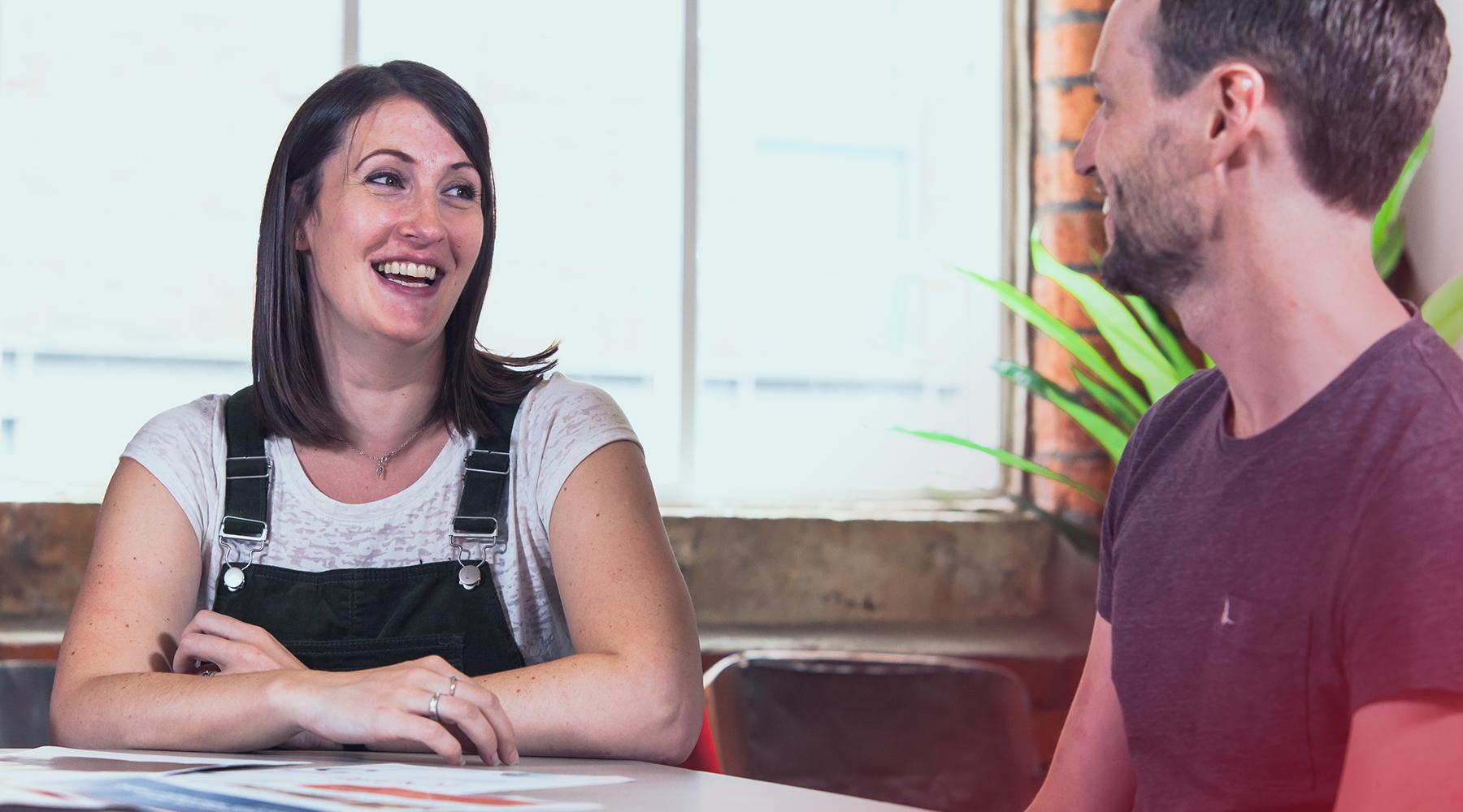 Christina Horton & Lucas Tomlinson in an internal meeting