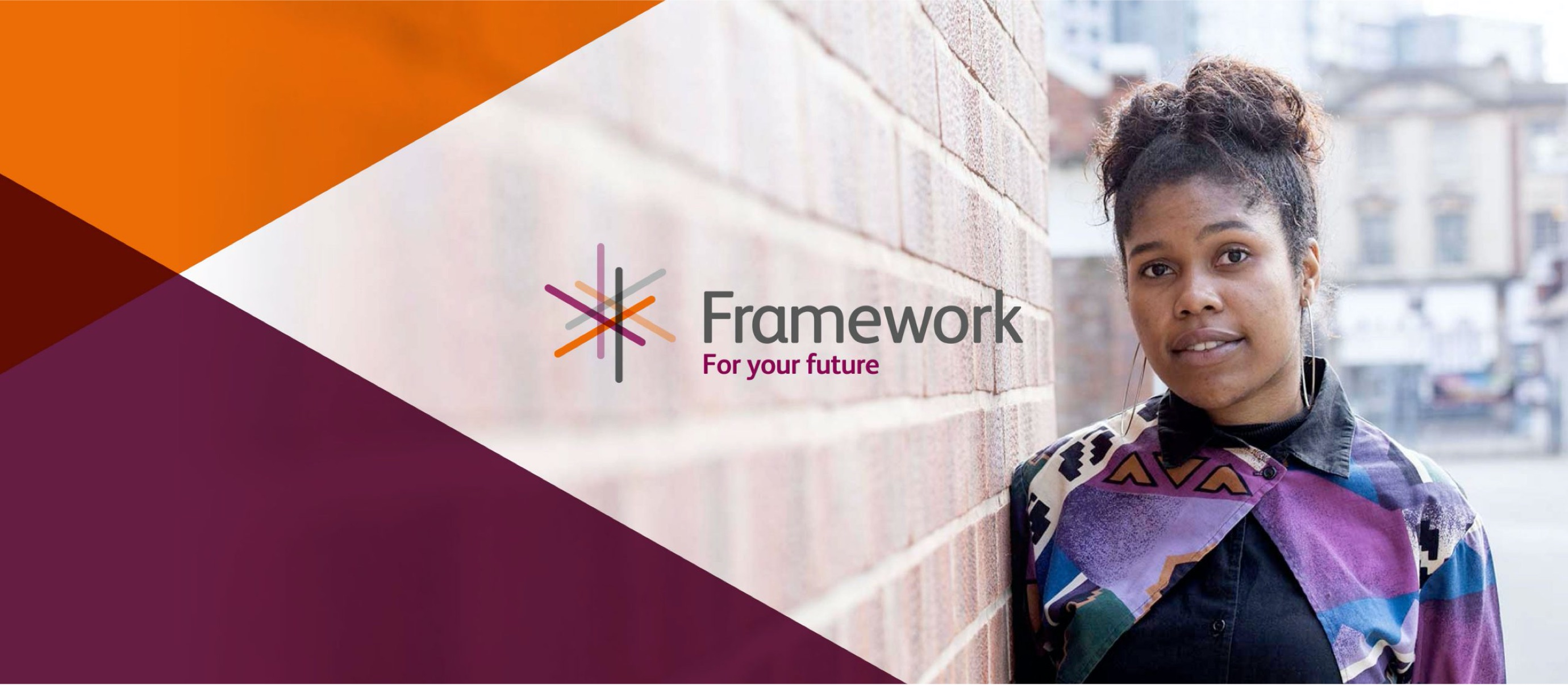 Framework logo overlaying a young lady leaning against a brick wall